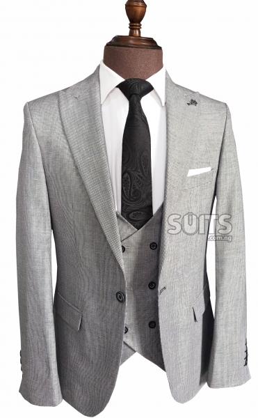 3bd07698ee4a9 Reid Grey hidden striped 3piece Suit by Guild ₦32